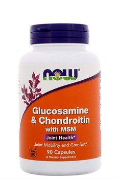 Now Foods Glucosamine & Chondroitin with MSM, 90 капсул - фото 5593