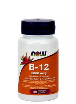 NOW B-12 5000 mcg + Folic,  60 loz. - фото 5729