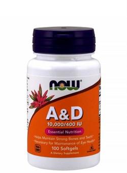 NOW Vitamin A & D 10,000/400 IU,  100 softgels. - фото 5730