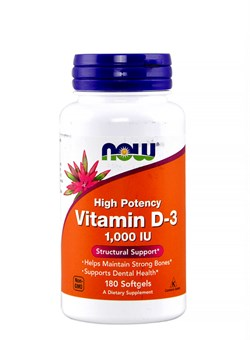NOW Vitamin D-3 1000 IU,  180 softgels. - фото 5731