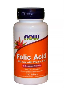 NOW Folic Acid 800 mcg, 250 Таб - фото 5733