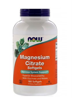NOW Magnesium Citrate,  180 капс. - фото 5895