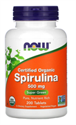 NOW Organic Spirulina 500 mg, 200 табл.